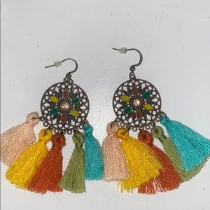 dangly circle flower earrings with tassels